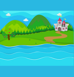 Scene with castle by the river vector