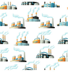 seamless pattern with factories or industrial vector image