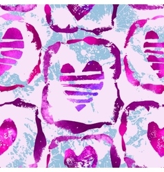 Seamless pattern with grunge hearts vector