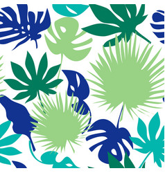 Seamless tropical leaves pattern vector