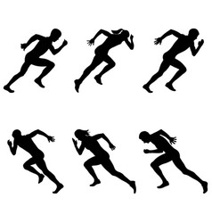 set athletics sprinters runners vector image