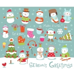 Set of cute and funny snowmen vector