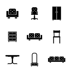Set of furniture icons silhouettes in black vector