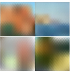 Set of nature blurred hexagonal unfocused vector
