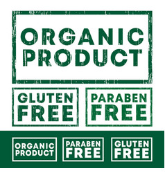 set organic product gluten and paraben free vector image