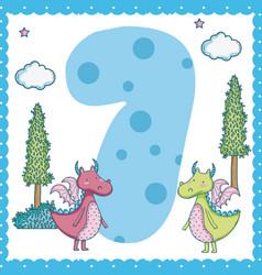 Seven number cartoon vector