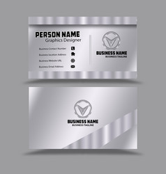 Silver background business card template psd vector