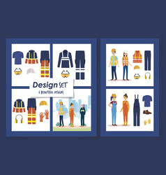 Six designs workers with uniforms and personal vector