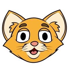 Smiling little kitten head vector image