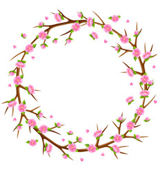 spring frame with branches of tree and sakura vector image
