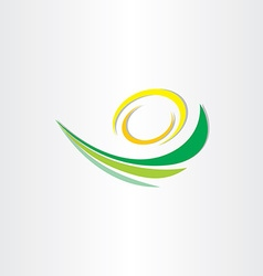 spring green wave with sun stylized icon vector image