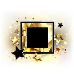 Square banner with golden stars vector