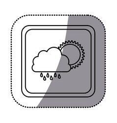 Sticker monochrome square frame with cloud with vector