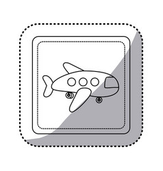 Sticker silhouette square button cartoon jet vector