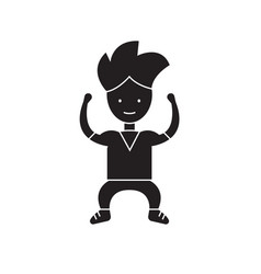 strong kid black concept icon strong kid vector image