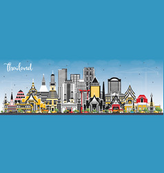 thailand city skyline with color buildings and vector image