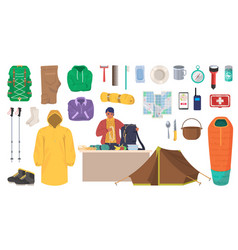 travel gear and equipment hiking and trekking vector image