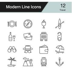 travel icons modern line design set 12 vector image