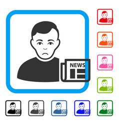 User news framed unhappy icon vector