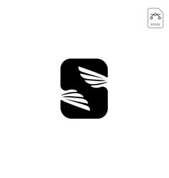 wings logo initial s abstract design icon isolated vector image