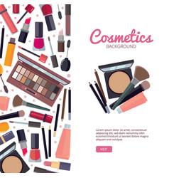 Woman cosmetic makeup beauty accessories bronzer vector