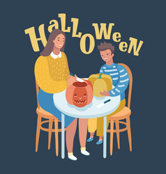 young c mother and her son carving pumpkins vector image