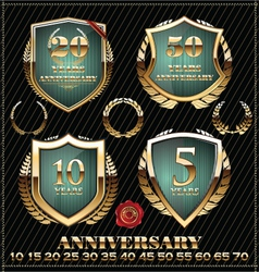 Anniversary green and gold design element vector image vector image