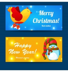 Greeting Christmas and New Year baners set vector image vector image