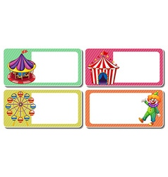 Label design with clown and circus tents vector image vector image