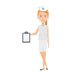 nurse professional woman of health with order vector image