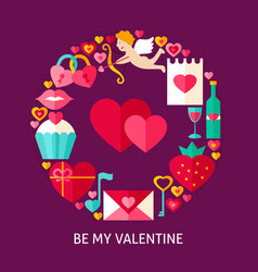 be my valentine flat concept vector image vector image