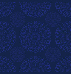 Blue seamless doodle pattern ethnic ornament hand vector