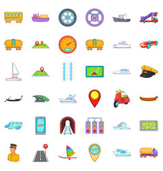 City transport icons set cartoon style vector