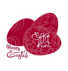 dark red eggs and handwritten word happy easter vector image