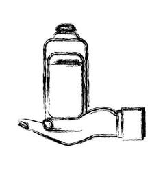human hand holding bottle shampoo care pet vector image