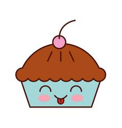 kawaii cake cherry dessert pastry product food vector image