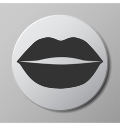 lips grey icon on round button with shadow vector image vector image