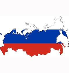 Map of Russia with national flag vector image
