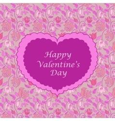 Pink floral valentine card vector image vector image