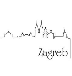 zagreb city one line drawing background vector image vector image