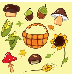 autumn set elements vector image vector image