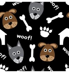 Cartoon seamless pattern with dogs vector image