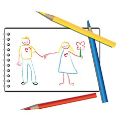Drawn by a child in the album a couple in love vector image