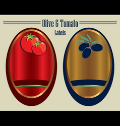 olive and tomato labels vector image