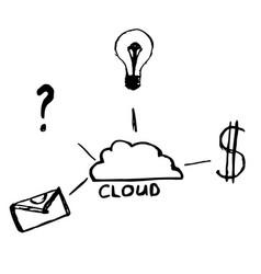 cloud data sketch hand drawn vector image