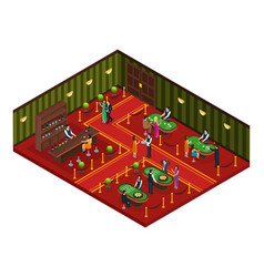 isometric casino gaming room concept vector image vector image