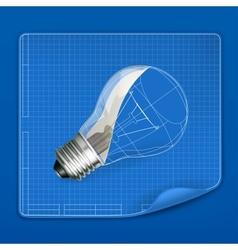 Lamp drawing blueprint vector image