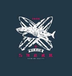 shark surfing emblem graphic design for t-shirt vector image