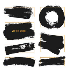 strokes abstract backhground set black vector image vector image