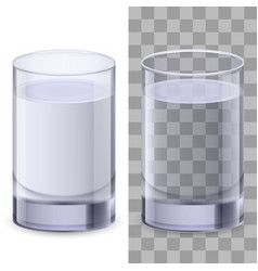 two realistic glasses of water on white vector image